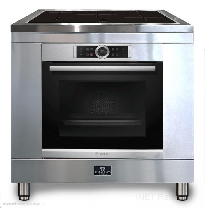 Uniek 90 cm breed inductie fornuis van het merk Elementi di Cucina in hoogglans zwart uitgevoerd. Voorzien van Bosch inductiekookplaat en luxe Bosch oven